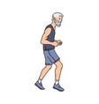 old runner man running forward - side view of vector image vector image