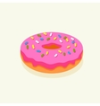 Pink donut with icing vector image