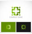 plus circle green medic logo vector image vector image