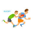 rugplayers man chasing opponent competition vector image vector image