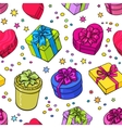 seamless pattern colorful sketch gifts vector image