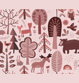 seamless pattern with hand drawn forest vector image