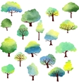 set of different trees by watercolor vector image