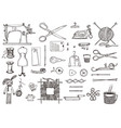 set sewing tools and materials or tools vector image vector image