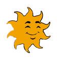 smile sun cartoon mascot character vector image