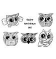 tattoo henna owl set vector image vector image