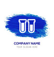 test-tube icon with drop of blood - blue vector image