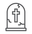tombstone line icon halloween and death vector image