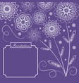 ultraviolet background with monoline white floral vector image