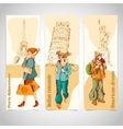 Urban people vertical banners sketch colored vector image vector image