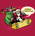 vintage santa ride skateboard and carrying a bag vector image vector image