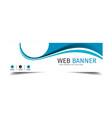 web banner blue wave design background imag vector image vector image