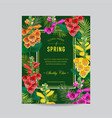 wedding invitation template with flowers and palms vector image vector image