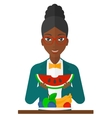 Woman eating watermelon vector image vector image