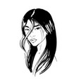 young asian girl with black long hair fashion vector image vector image