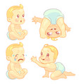 beauty cartoon emotion baby set vector image