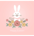 Happy easter bunny with flowers vector image