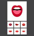 flat icon lips set of teeth tongue lips and vector image