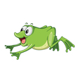 a green frog jumping