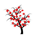 abstract tree with red fruits vector image vector image