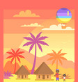 african father with son outside and balloon in sky vector image vector image