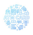 atm card round blue in thin vector image