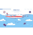 banner booking and buying plane tickets cartoon vector image vector image