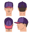 baseball tennis rap cap and man head vector image vector image