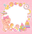 bashower design template bagirl with toy vector image vector image