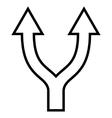 Bifurcation Arrow Up Contour Icon vector image vector image