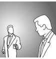 boss and worker talking doodle vector image