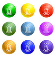burning candle icons set vector image vector image