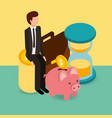 businessman on pile coins piggy bank hourglass and vector image vector image
