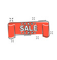 cartoon sale ribbon icon in comic style discount vector image vector image