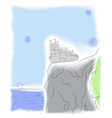 Castle on the cliff by the sea vector image