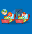 children having insomnia problem cartoon vector image vector image