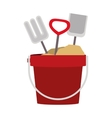 colorful sand bucket and shovel icon vector image