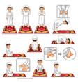 Complete Set of Muslim Prayer Position Guide Step vector image