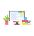 computer monitor with paper stickers and documents vector image vector image
