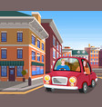 couple are traveling together using car people vector image