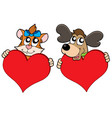 cute cat and dog with red hearts vector image vector image