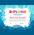 diploma for underwater explorer with seaweeds vector image