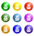 dollar icons set vector image