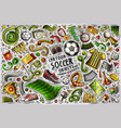 doodle cartoon set soccer objects vector image vector image