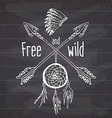 Dream catcher and crossed arrows tribal legend in