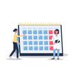 female menstruation cycle calendar - cartoon woman vector image