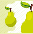 fresh fruit natural pear on dots background vector image