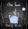 gin tonic cocktail hand drawn drink on white vector image vector image