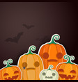 halloween pumpkins with sweets and autumn leaves vector image