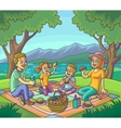 Happy family having picnic outdoors vector image